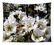 Pear Blossoms And Bee Tapestry