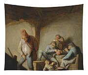 Peasants In The Interior Of An Inn Tapestry