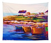 Peggys Cove  Four  Row Boats Tapestry