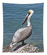 Pelican On Rock Tapestry