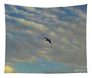 Pelican Soaring At Sunset Tapestry