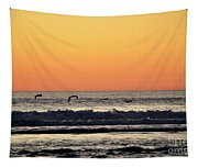 Pelican Sunset Tapestry