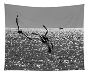 Pelicans Flying By - Black And White Tapestry