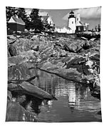 Pemaquid Point Lighthouse Maine Black And White Tapestry