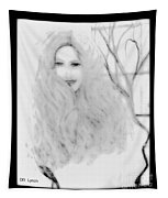 Pencil Sketch Of Blonde Hair Girl Tapestry