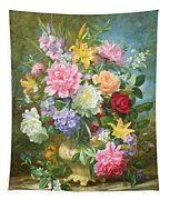 Peonies And Mixed Flowers Tapestry