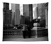 People And Skyscrapers - Square Tapestry