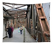 People Crossing Old Yugoslav Weathered Metal Bridge Crossing In Bosnia Hercegovina Tapestry