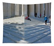 People On Steps With Columns Tapestry