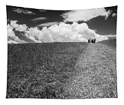 People On The Hill Bw Tapestry