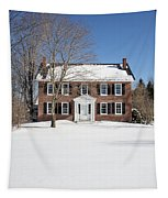 Period Vintage New England Brick House In Winter Tapestry