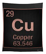 Periodic Table Of Elements - Copper - Cu - Copper On Black Tapestry