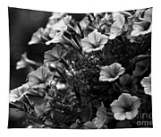 Petunias 1 Black And White Tapestry