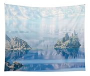 Phantom Ship Island In Mist At Crater Lake Tapestry