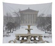 Philadelphia Art Museum From The West In Winter Tapestry