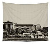 Philadelphia Museum Of Art And The Fairmount Waterworks From West River Drive In Black And White Tapestry