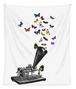 Phonograph And Butterflies Print Tapestry