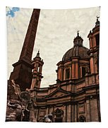 Piazza Navona At Sunset, Rome Tapestry