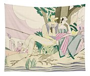 Picnic And Fishing Scene Tapestry