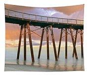 Pier On Beach During Sunrise, Playas De Tapestry