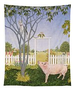 Pig And Cat Tapestry
