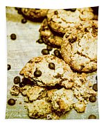Pile Of Crumbled Chocolate Chip Cookies On Table Tapestry