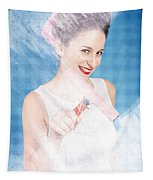 Pin Up Cleaning Lady Washing Glass Shower Door Tapestry