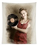 Pin-up Rockabilly Woman Holding Vinyl Record Lp Tapestry