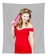 Pin-up Styled Fashion Model With Classic Hairstyle Tapestry