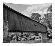 Pinetown Bushong's Covered Bridge Black And White Tapestry
