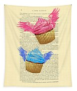 Pink And Blue Cupcakes Vintage Dictionary Art Tapestry