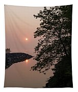 Pink And Green Summer - Soft Misty Sunrise On The Lake Tapestry