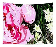 Pink And White Flowers Tapestry