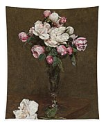 Pink And White Roses In A Champagne Flute Tapestry