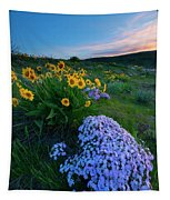 Pink And Yellow Sunset Tapestry