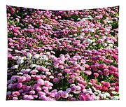 Pink Button Pom Flowers Tapestry