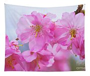 Pink Cherry Blossom Cluster Tapestry