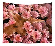 Pink Chrysanthemums With Pin Oak Leaf Tapestry