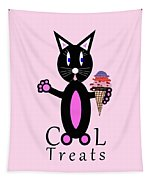 Pink Cool Treats - Cat Typography Tapestry