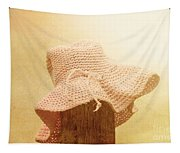 Pink Girls Hat On Farmyard Fence Post Tapestry