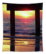 Pink Heart Sun Flare Clearwater Sunset Tapestry