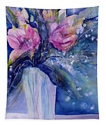 Pink Lilies In Vase Tapestry