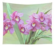 Pink Orchid Photo Sketch Tapestry