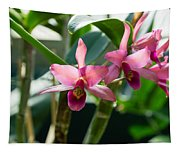 Pink Orchids - Exotic Tropical Glow Tapestry