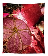 Pink Ornaments Holiday Card Tapestry