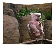 Pink Parrot Nibbling Foot Tapestry