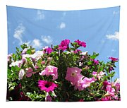 Pink Petunias In The Sky Tapestry