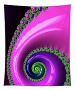 Pink Purple And Green Fractal Spiral Tapestry
