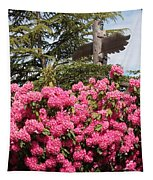 Pink Rhododendrons With Totem Pole Tapestry