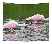 Pink Roseate Spoonbills Feeding Tapestry